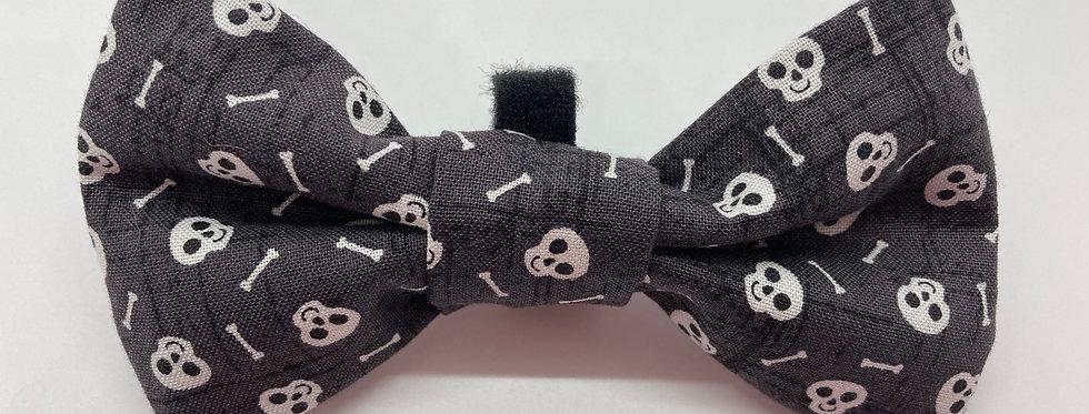 Halloween Charcoal Skulls Dog Bow Tie