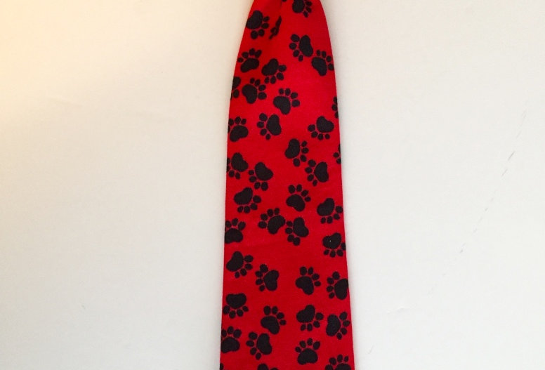 Red and Black Paw Prints Dog Neck Tie