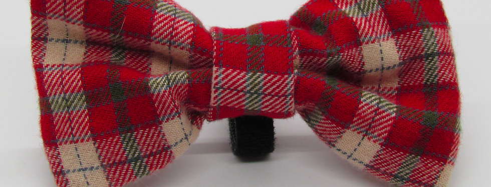 Red and Tan Plaid Dog Bow Tie