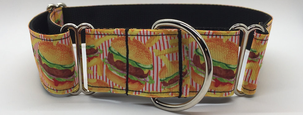 "1 1/2"" Cheeseburger Martingale Dog Collar"