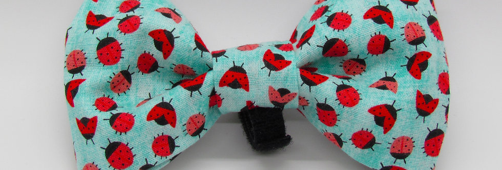 Lady Bugs Dog Bow Tie
