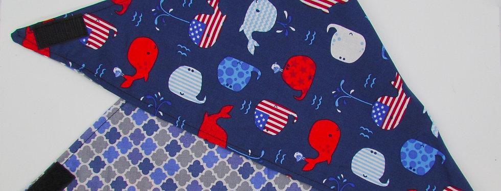 Patriotic Whales Reversible Dog Bandana