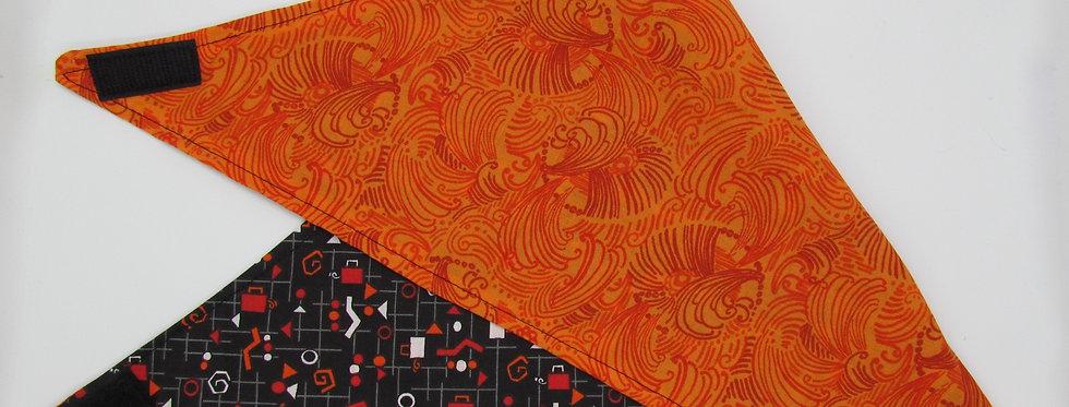 Orange Swirls Reversible Dog Bandana