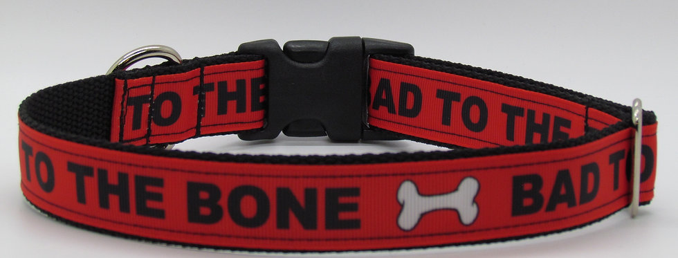 Bad to the Bone (Red) Dog Collar