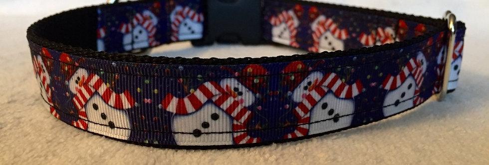 Blue Snowman Christmas Holiday Dog Collar