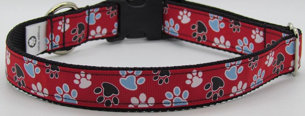 Red Paw Print Dog Collar
