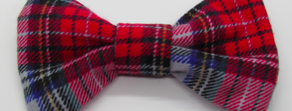 Red/Gray Watch Plaid Dog Bow Tie