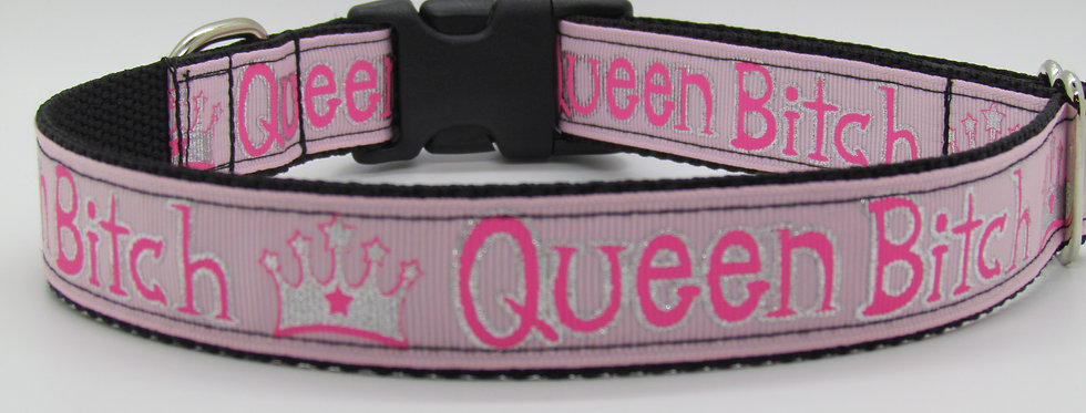 Pink Queen B***h Dog Collar