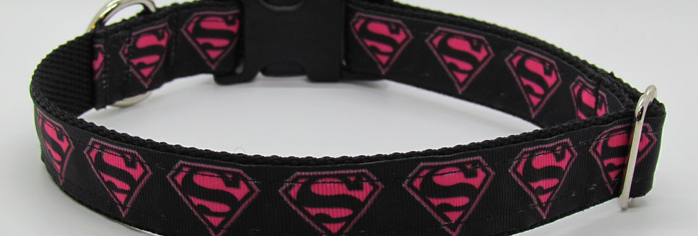 Superman (Pink) Inspired Dog Collar