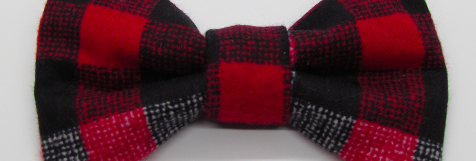 Red, Black and White Plaid Dog Bow Tie