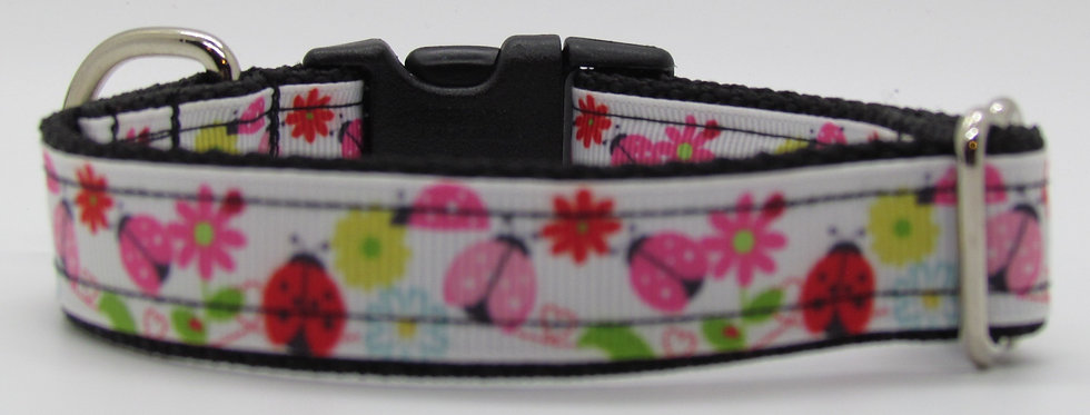 Small Pink Lady Bugs and Flowers Dog Collar