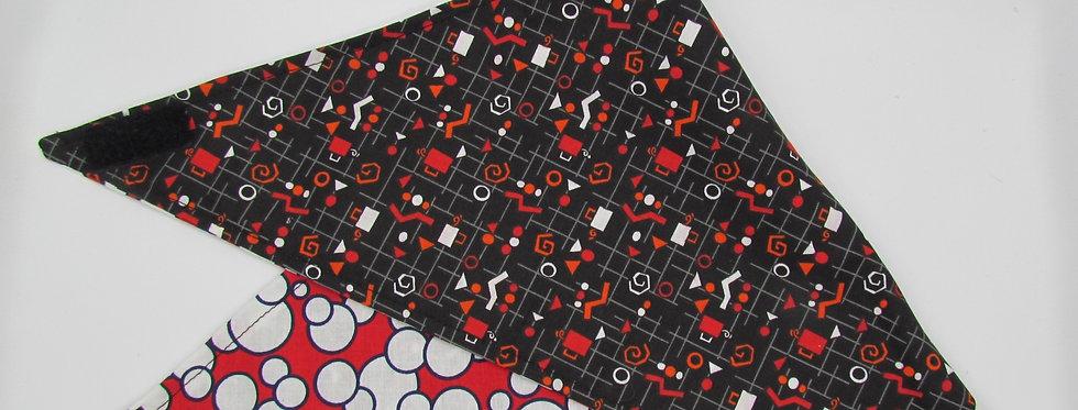 Black and Red Print Reversible Dog Bandana