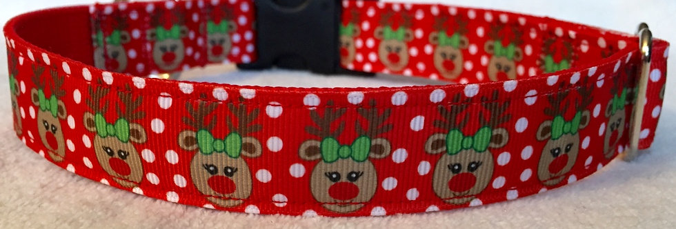 Polka Dot Reindeer Christmas Holiday Dog Collar