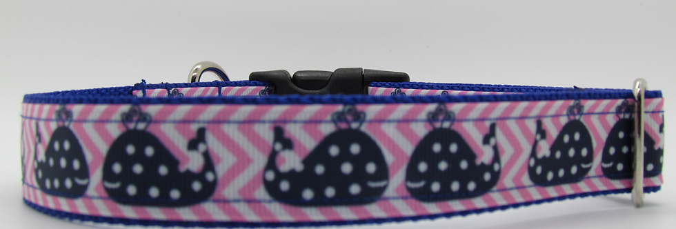 Polka Dot Whales (Pink) Dog Collar