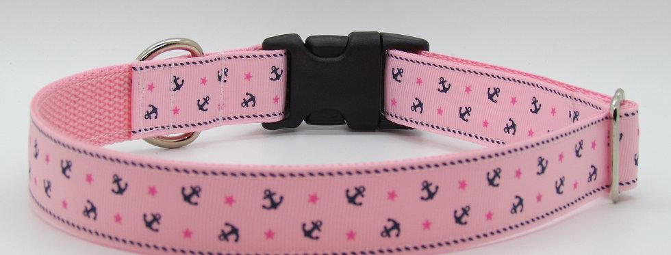 Pink Anchors Dog Collar