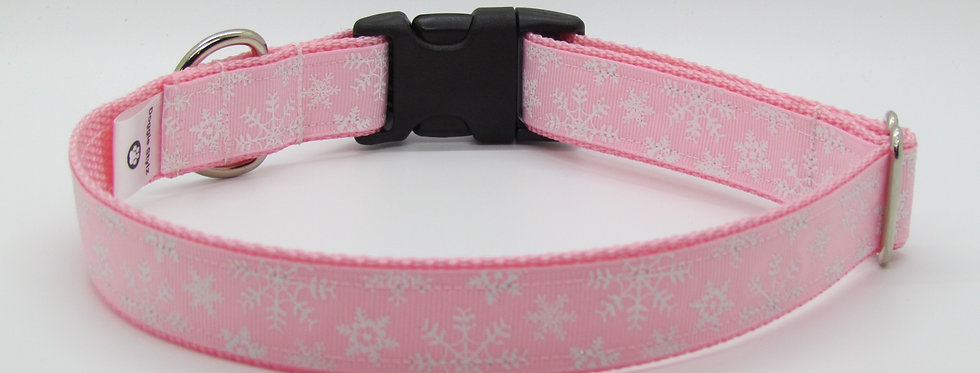 Baby Pink Sparkly Snowflakes Christmas Dog Collar