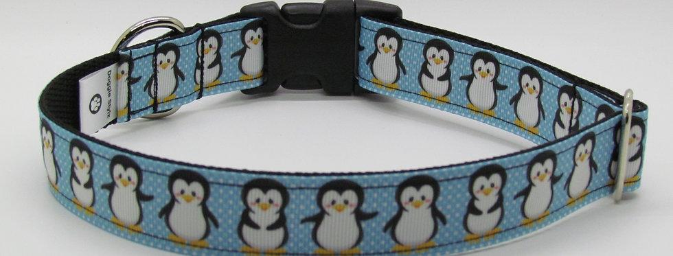 Blue Penguins Christmas Dog Collar