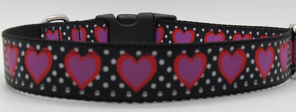 Polka Dot Hearts Dog Collar