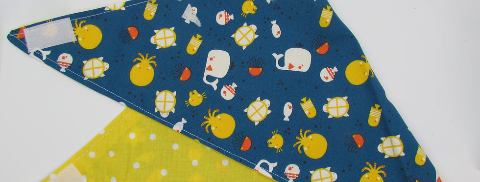 Whales and Sea Creatures Reversible Dog Bandana