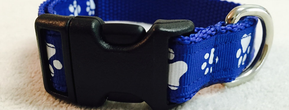 Small Royal Blue Paw Print Dog Collar