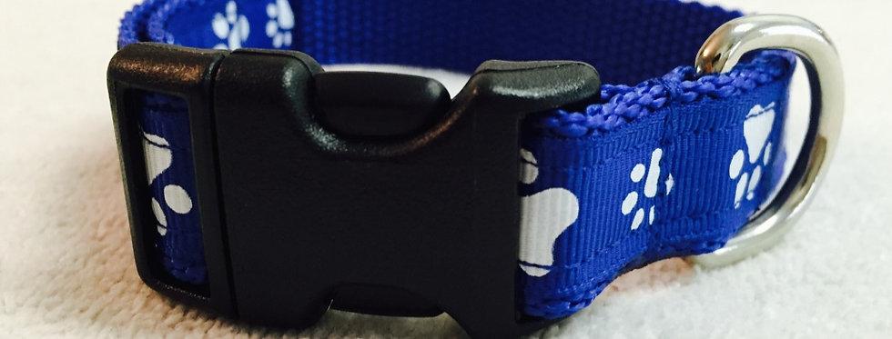 Small Royal Blue Paw Print Dog Collar