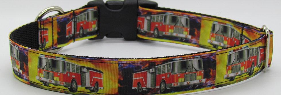 Firetrucks (Yellow) Dog Collar