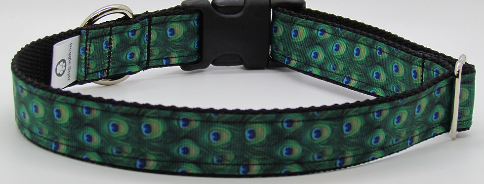 Peacock Print Dog Collar