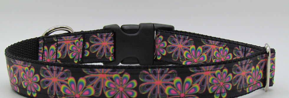 Neon Flowers Dog Collar