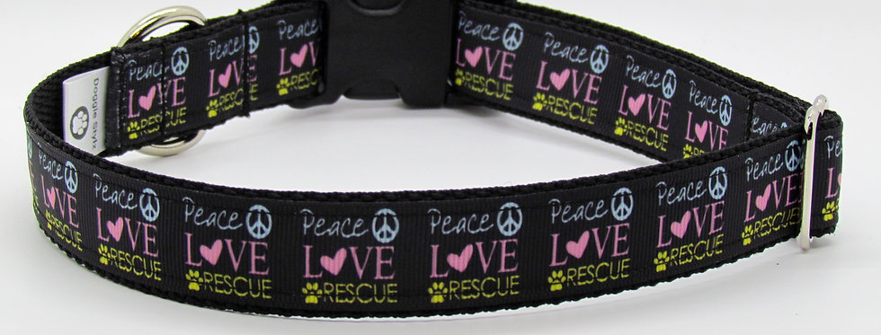 Peace, Love, Rescue (Black) Dog Collar