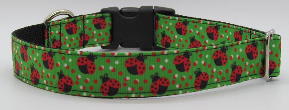 Polka Dot Lady Bugs (Green) Dog Collar