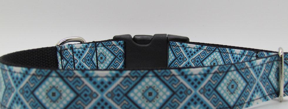 Blue Aztec Print Dog Collar