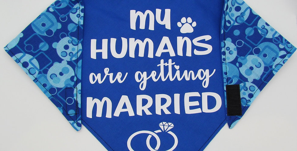 My Humans Are Getting Married (Royal Blue) Reversible Dog Bandana