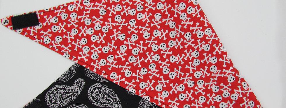 Red Skulls Reversible Dog Bandana