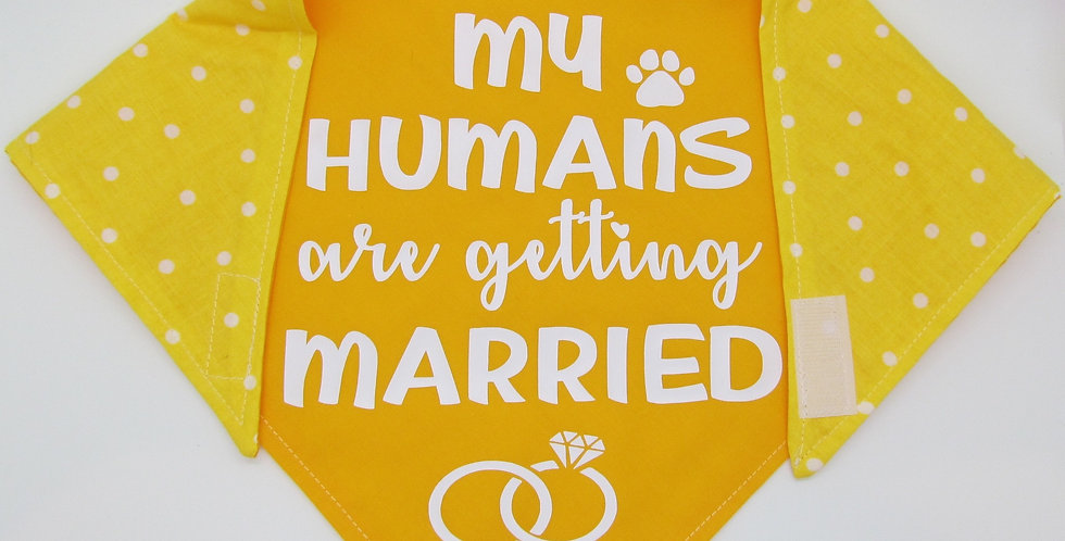 My Humans Are Getting Married (Yellow) Reversible Dog Bandana