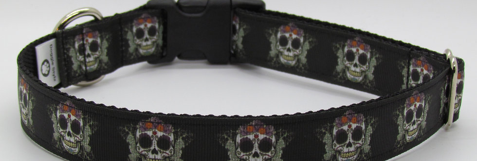 Day of Dead Skulls Dog Collar