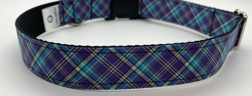 Purple Plaid Dog Collar