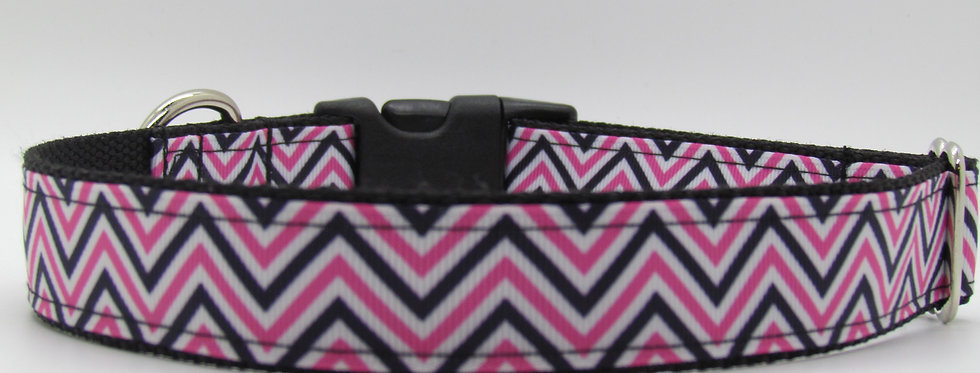 Pink Chevron Print Dog Collar