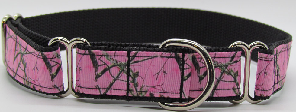 Pink Mossy Oak Camouflage Martingale Dog Collar
