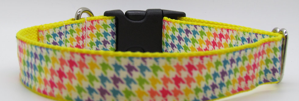 Rainbow Houndstooth Plaid Dog Collar