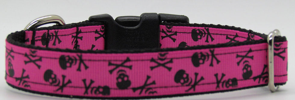 Small Hot Pink Skulls Dog Collar