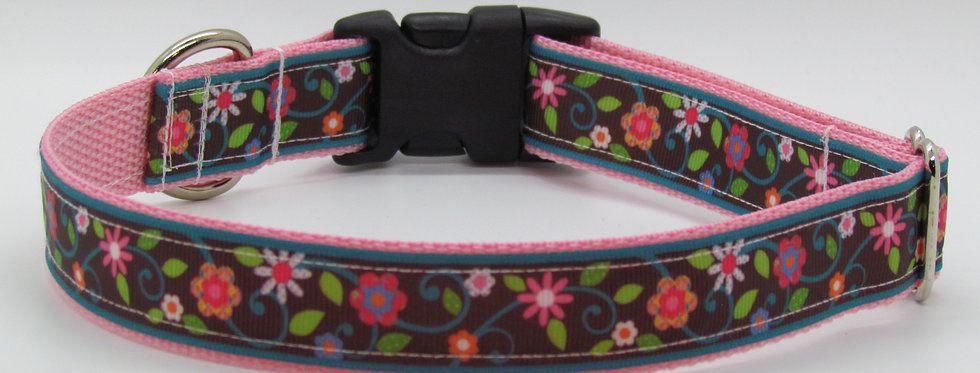 Brown and Pink Flowers Dog Collar