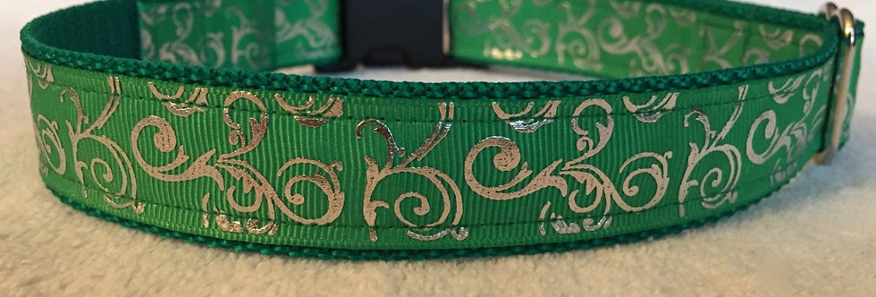 Green Foil Swirls Christmas Holiday Dog Collar