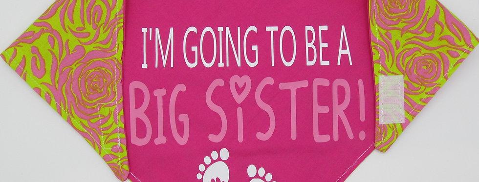 Big Sister (Hot Pink) Reversible Dog Bandana