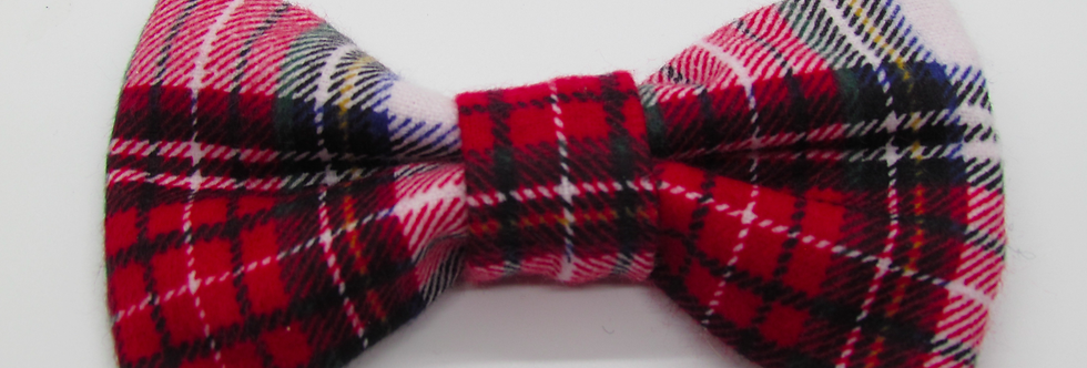 Red Watch Plaid Dog Bow Tie