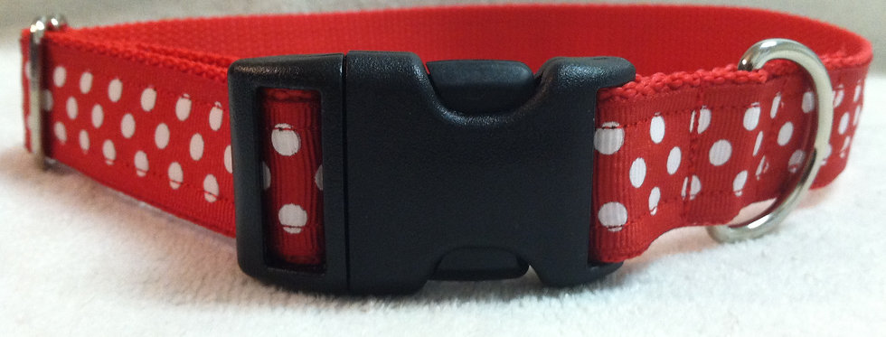 Red and White Polka Dot Dog Collar