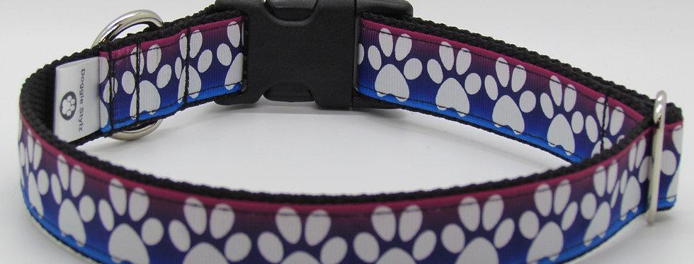 Dark Rainbow Paw Print Dog Collar