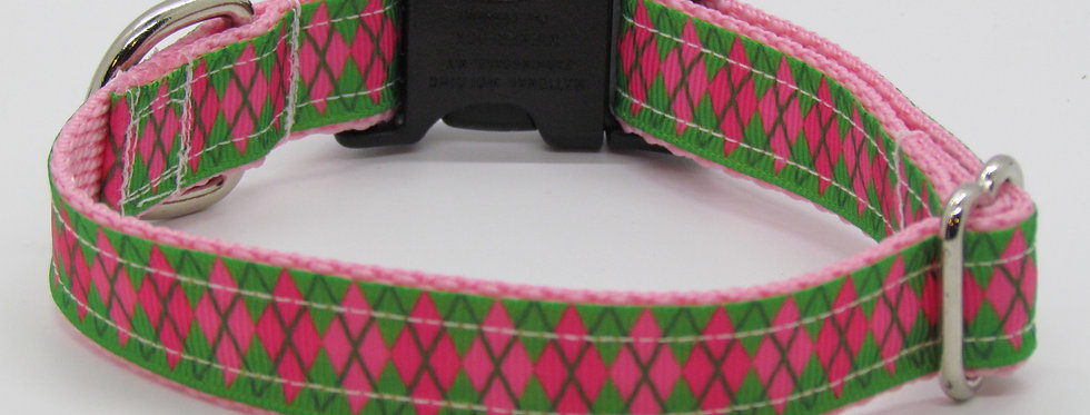 Small Pink and Green Argyle Dog Collar