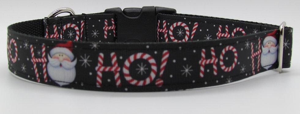 Ho Ho Ho (Black) Christmas Dog Collar