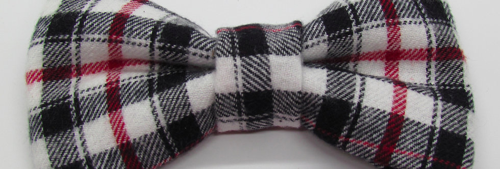 White Watch Plaid Dog Bow Tie