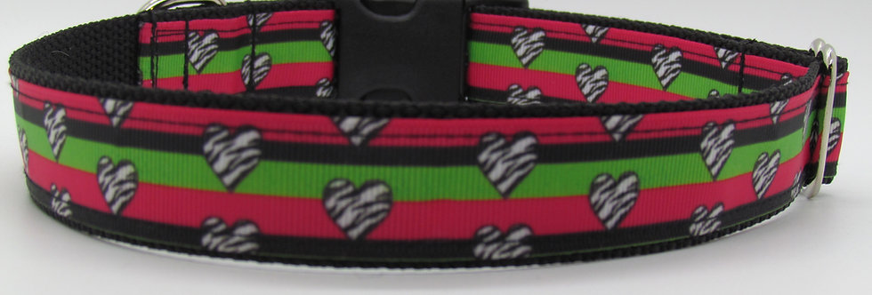 Zebra Hearts and Stripes Dog Collar